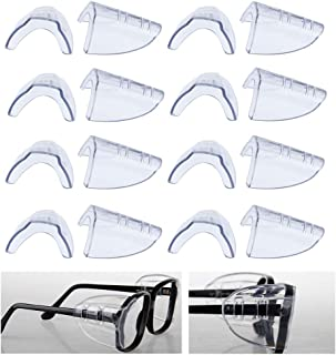 Valleycomfy 8 Pairs Safety Eye Glasses Side Shields Slip On Side Shields for Safety Glasses Fits Small to Medium Flexible Clear Universal