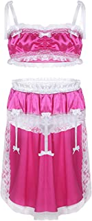 CHICTRY Mens 2 Piece Lingerie Set Sissy Pouch Lace Ruffles High Low Dress Nightwear