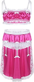 Men's Sissy Lingerie Set Shiny Satin Lace Bra Top with Skirted Panties Nightwear