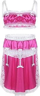 CHICTRY Mens 2 Piece Lingerie Set Sissy Pouch Lace Ruffles High Low Dress Nightwear