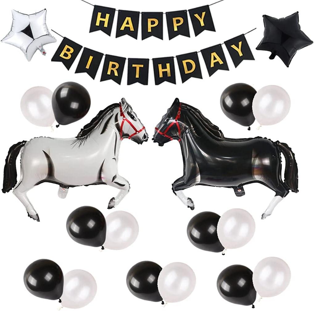 Juego de globos grandes con forma de caballo, globos de aluminio con forma de caballo, globos temáticos para fiestas, cumpleaños, baby shower, cowboy fiestas, color blanco y negro