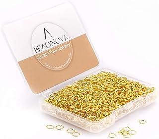 BEADNOVA 5mm Open Jump Ring Gold Plated Jewelry Making Jump Ring Metal Jump Ring (300Pcs)