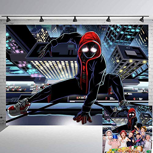 Miles Morales Spiderman Backdrop Boys Birthday Party Supplies Spider-Man Into The Spider-Verse Poster Standard Wall Poster Print 7x5Ft