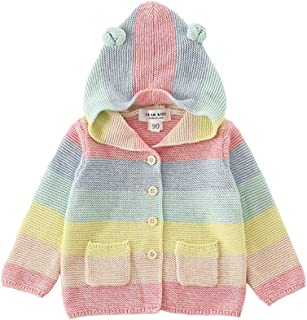 Zooarts Baby Girls Rainbow Cardigan Buttons Knitted Sweaters Jacket with Hoodie Ear