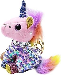 Cute Sequins Unicorn Pendant Keychain Car Keychains Keyrings Bag Purse Charms Key Ring