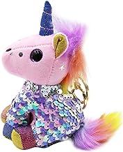 Cute Keychain Plush Stuffed Unicorn Girls Glitter Reversible Sequins Purse Pendant with Clip Key Ring