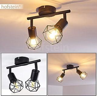compatible ampoules LED 4 spots de plafond orientables au look r/étro id/éal pour une chambre ou une cuisine Plafonnier Burkal en m/étal chrom/é et noir max 40 Watt pour 4 ampoules E14