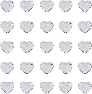 PandaHall Elite 200 Pezzi Ciondoli di Tag Forma Cuore in 304 Acciaio Inossidabile per Gioielli Fai da Te, Colore Acciaio I...