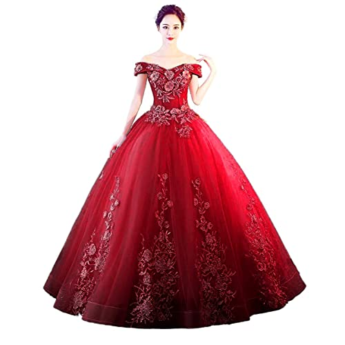 ad4c8af0f1b3 LEJY Women's Off The Shoulder Quinceanera Dresses Applique Masquerade Ball  Gowns Prom Dresses