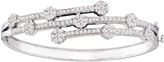 14kt White Gold Womens Round Diamond Flower Cluster Bangle Bracelet 2-1/2 Cttw In Cluster Setting (I1-I2 clarity; H-I color)