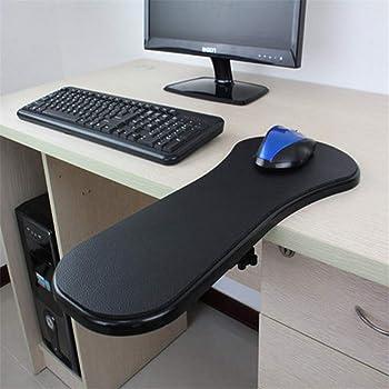 Ergonomic Armrest Mouse Pad Holder Adjustable Computer Desk Extender Arm Wrist Rest Support for Table and Chair (Black)