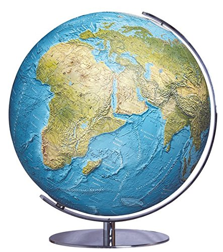 Columbus DUORAMA: OID-Code, Politisch-physikalisch / 34 cm Durchmesser Meridian und Fuß Chrom