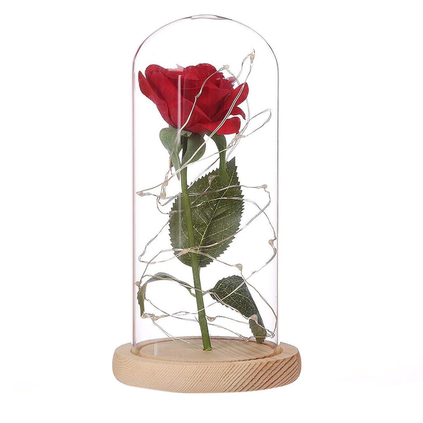 送った先入観誇りに思うEasy Raku 造花バラ ガラス ランプ 枯れない薔薇 LEDライト付き 電球 電池式 置物 飾り インテリア 装飾 おしゃれ ロマンチック 人気ギフト 花ギフト 結婚式 記念日 誕生日プレゼント クリスマスプレゼント (クリーム)