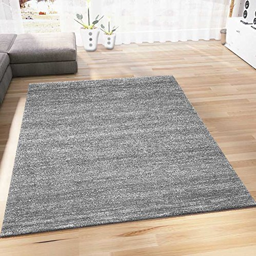 VIMODA Teppich Modern Grau Kurzflor Meliert Farbecht Pflegeleicht, Maße:80 x 150 cm
