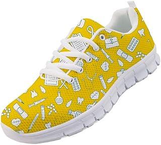 chaqlin Baskets imprimées médicales et mignonnes baskets d'infirmière colorées pour sports de plein air, chaussures de cou...