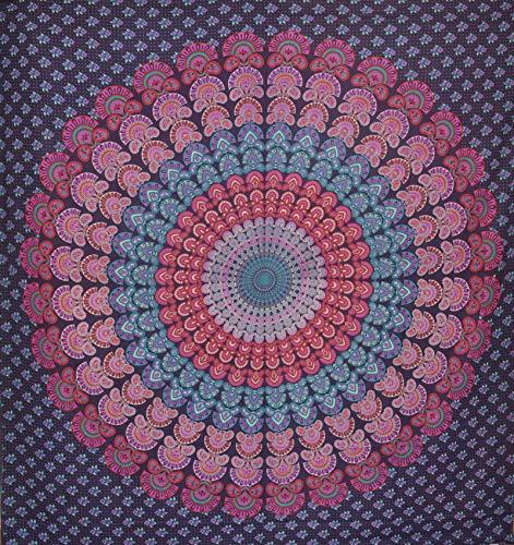 Tagesdecke Indien Bettüberwurf Wandbehang Batik Tribal Vorhang Überwurf Mandala Tischdecke 240 x 210 cm (2.7)