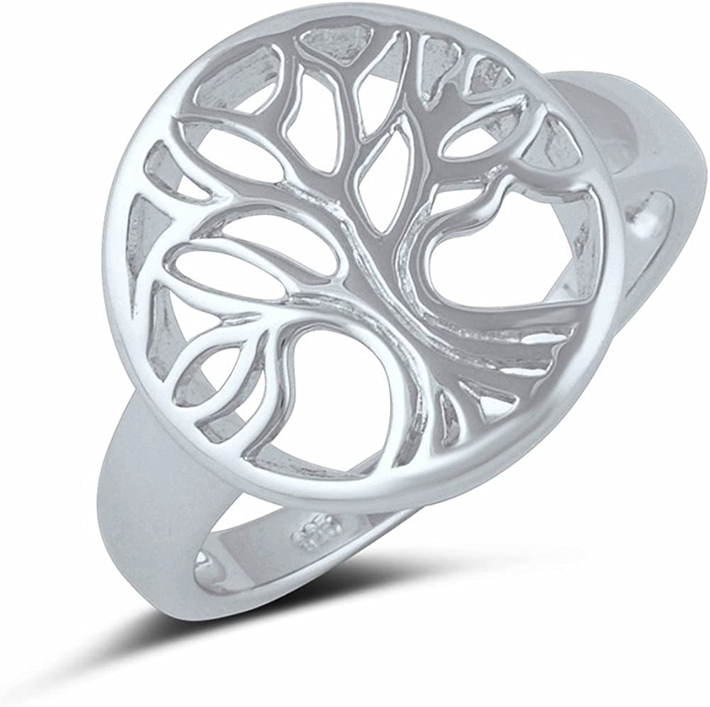 Challenge the lowest price Sterling Silver Limited price Tree of Life Ring Size - 3-14