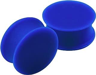 2PCS Silicone Dark Blue Double Flared Saddle Cute Stretcher Ear Gauge Plug Earring Lobe Piercing Jewelry Choose Sizes