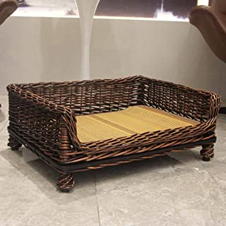 Nfudishpu Soft Pet Dog Bed Rattan Wicker Nest Kennel Willow Large Kennel Removable and Washable Universal