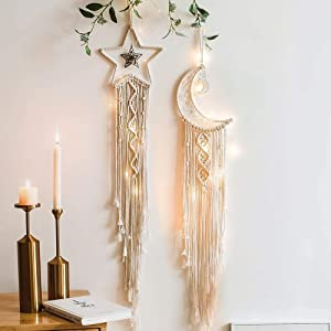 Octfam Moon Star Bohemian Dream Catcher Macrame Wall Hanging Art Woven Boho Wall Decor Home Decor Room Decor Gifts for Women, Gifts for mom, Gifts for Lover, Gifts for Grandma, Beige, 2pc
