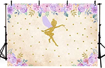 MEHOFOTO Fairy Baby Shower Party Photo Studio Booth Backgrounds Enchanted Vintage Pink Purple Floral Magical Fairy Birthday Girl Gold Dots Photography Backdrop Banner 7x5ft