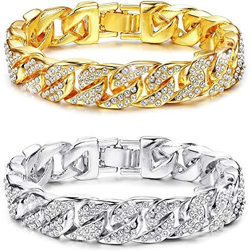 PROJEWE 1-2 STÜCKE Iced Out Curb Cuban Link Armband für Herren Frauen Hip Hop Biker Panzerkette Armband Chains Schmuck Gold/Silber