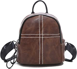 Happy-L Handbags New Fashion Retro Mini Backpack Ladies Advanced Texture Backpack Zipper Large Capacity Travel Bag (Color : Brown, Size : 19 * 11 * 20cm)