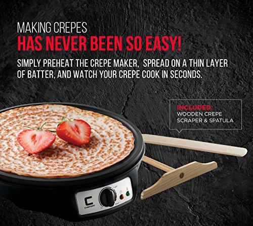 """Chefman 12"""" Electric Crepe Maker & Griddle, Precise Temperature Control, Non Stick, Includes Batter Spreader and Spatula"""