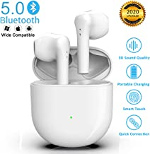 Wireless Earbuds Bluetooth 5.0 Headphones Noise Canceling 3D Stereo Earbuds Fast Charging IPX5 Waterproof in-Ear Built-in Mic with Deep Bass Earbuds for iPhone/Android Airpods Apple Earbuds