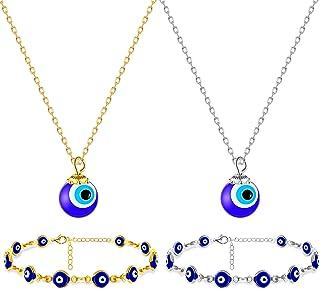 Hicarer 4 Pieces Turkish Blue Evil Eye Beads Bracelet Evil Eye Chain Bracelet Evil Eye Necklace Chain Blue Eyes Amulet Pen...