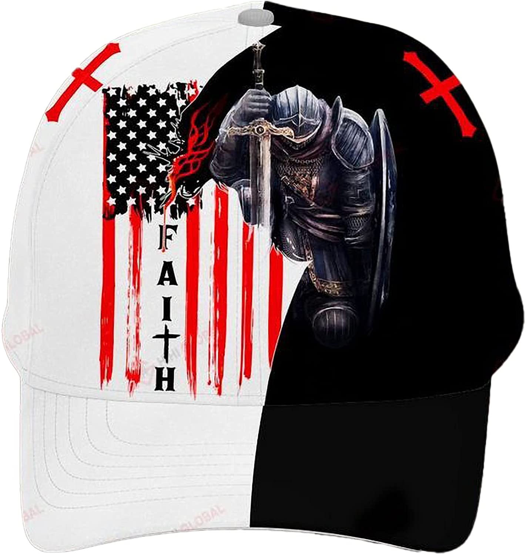 Jesus Knight Templar American Flag Faith Classic Baseball Cap