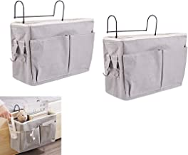 RuiyiF 2 Pack Bed Organizer Hanging with Metal Hooks, Bunk Bed Storage Pocket for Top Bunk Dormitory Bedside Storage for B...