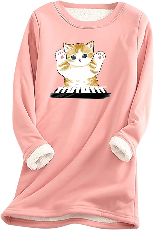 Womens Sleepwear Dress Long Sleeve Shirts O-Neck Pullover Cute Cat Printing Tops Fashion Fleece Loose Blouse