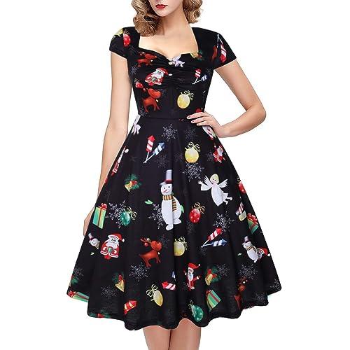 a622306923e1 OTEN Women's Xmas Christmas Vintage Floral Sugar Skull Print Rockabilly  Party Dress