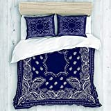 TMSSUNCI Twin Duvet Cover Retro Duvet Cover Comforter Cover Boys Bandana in Blue Comforter Protector with 1 Quilt Cover 2 Pillow Case