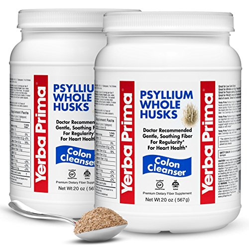 Yerba Prima Psyllium Whole Husks Colon Cleanser – All Natural, Dietary Fiber Supplement for Improved Bowel Regularity, Heart Health & Weight Loss Management – 2 Pack of 20 Onces (Total of 40 Onces)