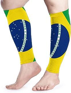Cvcxvcxvcxvc Flag of Brazil Calf Compression Sleeve - Leg Compression Socks for Shin Splint Calf Pain Relief Fit for Men Women and Runners