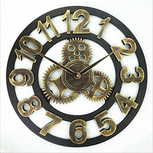 H&M Reloj de pared estilo retro retro engranaje de metal pared reloj de pared reloj de calle tranquila moda simple sala de estar cocina comedor dormitorio reloj de pared , A , 50cm