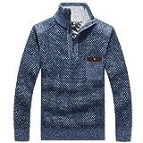 Wantess Hombre Suéter de Cuello Alto Pullover Espesado Otoño e Invierno A Prueba de Viento Calidez Clásico Casual Color Liso Jersey 3X-Large