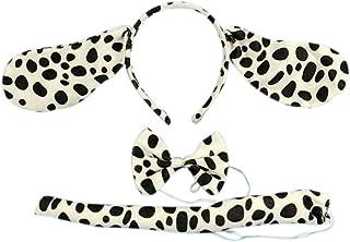 3PCs Funny Dalmatian Milk Leopard Costume Headband Ear with Tail Tie