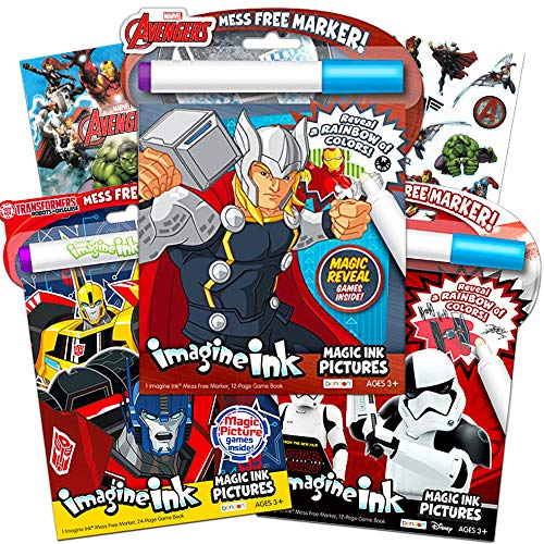 Imagine Ink Bundle of Magic Pictures Activity Books Set - Avengers and Star Wars No Mess Books with Stickers (Mess Free Coloring Books for Toddlers Kids)