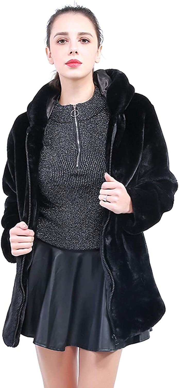 LIVEINU Women Faux Fur Coat Jackets Luxury Winter Black Parkas with Hood