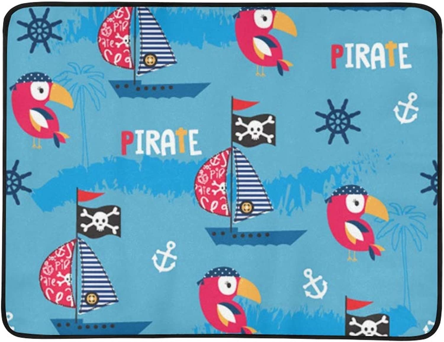Bird Pirate Ship Portable and Foldable Blanket Mat 60x78 Inch Handy Mat for Camping Picnic Beach Indoor Outdoor Travel
