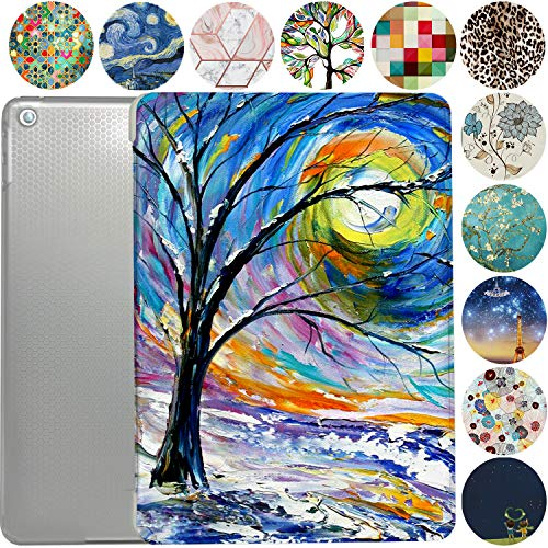 iPad 7.9 Case 2015 iPad Mini 4th Generation Slim Smart Protective Cover with Soft TPU Honeycomb Clear Back & Viewing/Typing Stand for iPad 7.9' Mini 4 Gen Auto Sleep/Wake Printed- Color Emblem