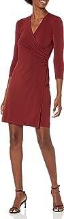 Marca Amazon - Lark & Ro Crepe Knit Faux Wrap Dress Mujer
