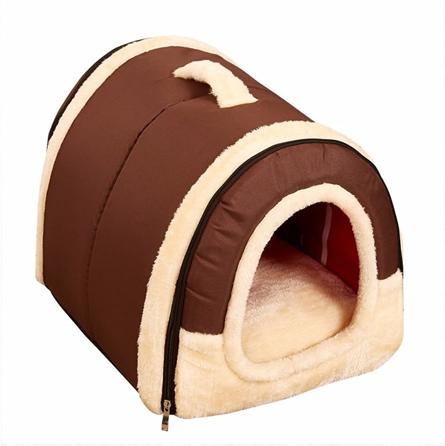 Dream Cloud Dog House Comfortable Warm Short Hairy Material Portable Easy to Clean Brown Pet Bed