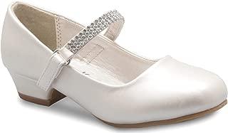 Olivia K Girls Kitten Heels Mary Jane Shoes - Round Toe with Rhinestone Strap- Easy on Off