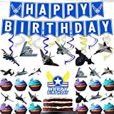 Combat Aircraft Hanging Swirl Streamers Banner Cake Topper Block Cool Plane Party Decor Perfect for Child Teens Happy Birthday Party Supplies Decorations Set 18pcs
