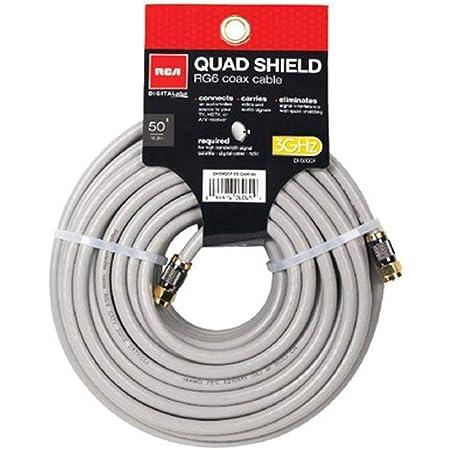 RCA 50-Feet Quad Shield Coax Cable (DH50QCF) Black