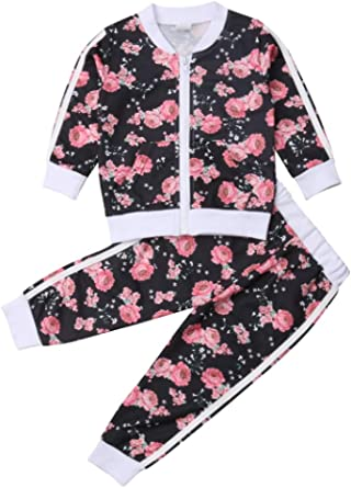 Listogether Toddler Kids Clothing Baby Girls Cute Floral Long Sleeve Zipper Sweatshirt Top+Long Pants 2Pcs Outfits Set